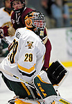 "19 January 2007: University of Vermont goaltender Joe Fallon (29) from Bemidji, MN, in action against Boston College during a Hockey East division matchup at Gutterson Fieldhouse in Burlington, Vermont. The UVM Catamounts defeated the BC Eagles 3-2 before a record setting 50th consecutive sellout at ""the Gut""...Mandatory Photo Credit: Ed Wolfstein Photo."