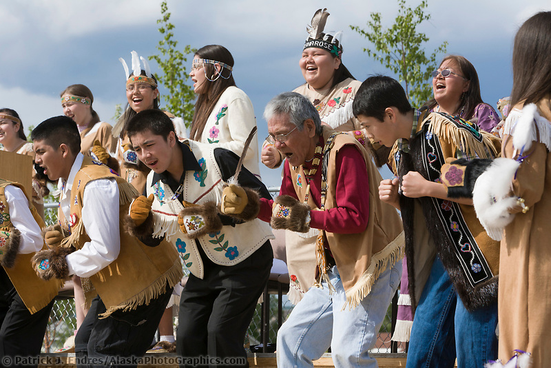 Athabascans dance at the Morris Thompson Visitor's Center groundbreaking ceremony, May 30, 2007, Fairbanks, Alaska