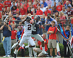 Southern Illinois' Courtney Richmond (2) breaks up a pass for Ole Miss' Donte Moncrief (12) at Vaught-Hemingway Stadium in Oxford, Miss. on Saturday, September 10, 2011. Ole Miss won 42-24.