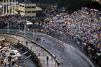 MONTE CARLO - JUNE 3: An overview of the circuit during a heavy rain at the Monaco Grand Prix on June 3, 1984, at the Circuit de Monaco in Monte Carlo, Monaco.