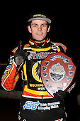 Victorious Wolves captain Tai Woffinden with the Elite Shield - Lakeside Hammers vs Wolverhampton Wolves, Elite Shield Speedway at the Arena Essex Raceway, Purfleet - 26/03/10 - MANDATORY CREDIT: Rob Newell/TGSPHOTO - Self billing applies where appropriate - 0845 094 6026 - contact@tgsphoto.co.uk - NO UNPAID USE.