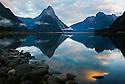 Milford Sound with Mitre Peak at sunrise, New Zealand, South Island, Fjordland National Park
