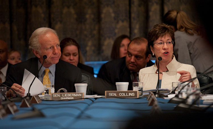 "WASHINGTON, DC - June 24: Chairman Joseph I. Lieberman, I-Conn., and ranking member Susan Collins, R-Maine, during the Senate Homeland Security and Governmental Affairs markup of S 3480, the ""Protecting Cyberspace as a National Asset Act of 2010,"" and other legislation. (Photo by Scott J. Ferrell/Congressional Quarterly)"