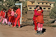 Wasco, Oregon, February 1984: Disciples of Bhagwan Rajneesh express openly their mutual love to one another.  Rajneeshpuram, was an intentional community in Wasco County, Oregon, briefly incorporated as a city in the 1980s, which was populated with followers of the spiritual teacher Osho, then known as Bhagwan Shree Rajneesh. The community was developed by turning a ranch from an empty rural property into a city complete with typical urban infrastructure, with population of about 7000 followers.