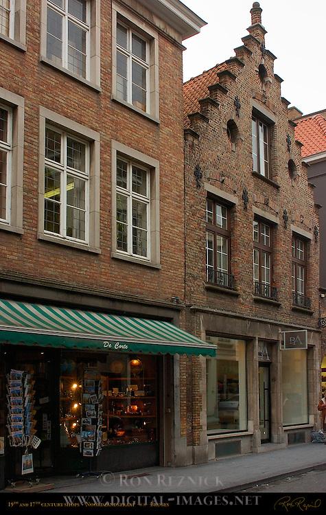 19th and 17th century Shops, Noordzandstraat, Bruges, Brugge, Belgium