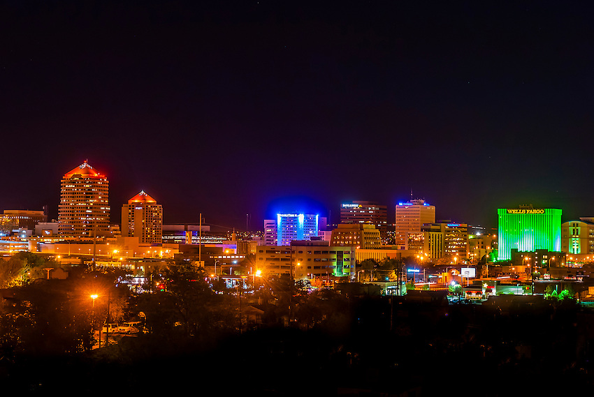Downtown Skyline At Night Albuquerque New Mexico USA