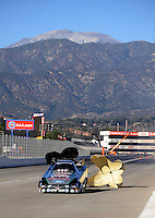 Nov 11, 2010; Pomona, CA, USA; NHRA funny car driver Ashley Force Hood during qualifying for the Auto Club Finals at Auto Club Raceway at Pomona. Mandatory Credit: Mark J. Rebilas-