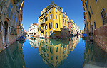 Fisheye image of a canal in Cannaregio, Venice, Italy.