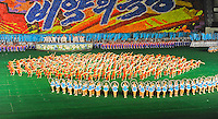 North Korean students participate in a mass performance during the Arirang festival in Pyongyang. The celebration is to honor Kim II Sung who lead North Korean from 1948-1999