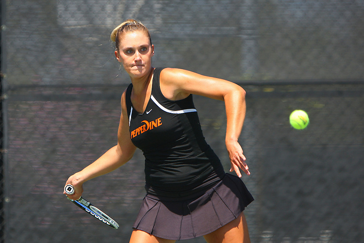 April 23, 2011; San Diego, CA, USA; Pepperdine Waves singles Megan Moore during the championship round of the WCC Tennis Championships at the Barnes Tennis Center.