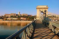 Szecheni Lanchid ( Chain Bridge ). Suspension bridge over the Danube betwen Buda & Pest. Budapest Hungary
