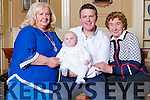 Baby Marc Fitzgerald pictured at his Christened party last Saturday in The Listowel Arms with his father Thomas ( Listowel) , grandmother Bridget Fitzgerald (Glin) and great grandmother Nora Riordan ( Abbeyfeale).