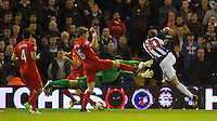 WEST BROMWICH, ENGLAND - Wednesday, September 26, 2012: West Bromwich Albion's Gabriel Tamas scores the first goal against Liverpool during the Football League Cup 3rd Round match at the Hawthorns. (Pic by David Rawcliffe/Propaganda)
