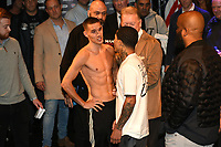 Liam Walsh (C) and Gervonta Davis during a Weigh-In at the Theatre Royal Stratford East on 19th May 2017