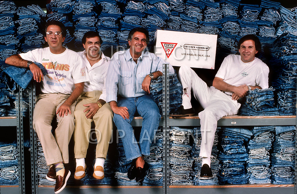 July, 1987, Los Angeles, California, USA - Guess Jeans designers The Marciano Brothers at a warehouse.