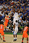 31 MAR 2012:  Darius Miller (1) of the University of Kentucky shoots over Kyle Kuric (14) of the University of Louisville during the Semifinal Game of the 2012 NCAA Men's Division I Basketball Championship Final Four held at the Mercedes-Benz Superdome hosted by Tulane University in New Orleans, LA. Kentucky defeated Louisville 69-61 to advance to the national final. Brett Wilhelm/ NCAA Photos
