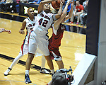 Ole Miss' Monique jackson (42) vs. Arkansas' Kelsey Hatcher (3) in a women's college basketball game in Oxford, Miss. on Thursday, January 31, 2013. Arkansas won 77-66.