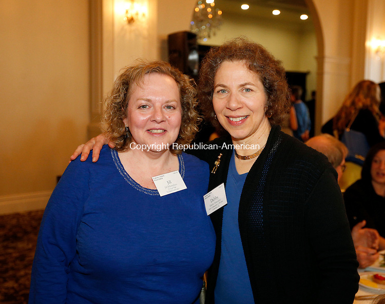 Prospect, CT- 16 April 2015-041615CM14-  Social moments---  From left, Jill Schoenfuss of Waterbury Youth Services and Debby Horowitz of the Jewish Federation of Western, CT, are photographed during the 29th Annual United Way of Greater Waterbury Community Leaders Dinner at Aria Wedding and Banquet Facility in Prospect on Thursday, April 16, 2015.  Christopher Massa Republican-American
