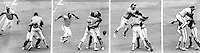 1972 A's win the Series: Sal Bando jumps on Rollie Fingers and Dave Duncan after the final out of the World Series against the Red's. (photo copyright 1972 Ron Riesterer)