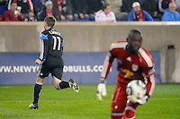 Bobby Convey (11) of the San Jose Earthquakes celebrates scoring in the 6th minute during the 2nd leg of the Major League Soccer (MLS) Eastern Conference Semifinals against the New York Red Bulls at Red Bull Arena in Harrison, NJ, on November 04, 2010.