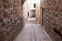 A narrow covered street in the Jewish Quarter of the Old City of Jerusalem.