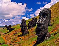 Moai statues at Rano Raraku, Easter Island, Chile