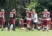 Ashburn, VA - August 6, 2009 -- Offensive Line Coach Joe Bugel (in white)  puts his players through some drills during the 2009 Washington Redskins Training Camp at Redskins Park in Ashburn, Virginia on Thursday, August 6, 2009..Credit: Ron Sachs / CNP