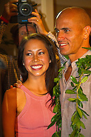 Haleiwa Hawaii, (Monday December 6, 2010) .Monday, Kelly Slater (USA) and Kalani Miller (USA).   40th annual SURFER Poll Awards were held tonight at Turtle Bay Resort on Oahu's North Shore..Sal Masekela (USA)  returned to serve as the Master of Ceremonies for the event with charismatic Hawaiian surf star Fred Patacchia as co-host .This year's SURFER Poll Awards were held in honor of recently lost legend, three-time World Champion Andy Irons. While acknowledging all of the surfers lost this year, the event  put a heavy focus on Andy and the legacy he leaves behind in and out of the water. Another focal point of this year's show was  Kelly Slater's 10th world title win. Touted as the world's most dominant athlete, Kelly's accomplishments have catapulted the sport of surfing and garnered the world's attention. Kelly was award the male Surfer of the Year award with Stephanie Gilmore (AUS) taking out the Female Surfer of the Year..Photo: joliphotos.com