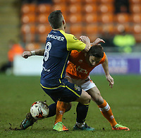 Blackpool's Ian Black battles with Stevenage's Steven Schumacher<br /> <br /> Photographer Alex Dodd/CameraSport<br /> <br /> The EFL Sky Bet League Two - Blackpool v Stevenage - Tuesday 14th March 2017 - Bloomfield Road - Blackpool<br /> <br /> World Copyright &copy; 2017 CameraSport. All rights reserved. 43 Linden Ave. Countesthorpe. Leicester. England. LE8 5PG - Tel: +44 (0) 116 277 4147 - admin@camerasport.com - www.camerasport.com