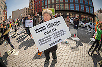 Hundreds of vegetarians gather in the trendy Meatpacking District in New York on Sunday, March 24, 2013 to kick off the Sixth Annual Veggie Pride Parade in America.  The yearly parade attracts vegetarians from the tri-state area where they espouse their meatless lifestyle. Parade organizers felt that vegetarianism has been overshadowed by other causes despite increased interest in the problems of factory farming, hormones and the health hazards of eating meat. (© Richard B. Levine)