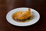 Fried chicken at Cafe Castagna, a restaurant in SE Portland, Oregon, USA