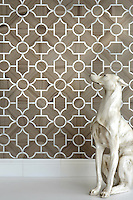 Chatham 3 Stone Waterjet Mosaic shown in Driftwood and Calacatta Tia honed.