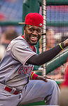 20 May 2014: Cincinnati Reds second baseman Brandon Phillips smiles in the dugout during a game against the Washington Nationals at Nationals Park in Washington, DC. The Nationals defeated the Reds 9-4 to take the second game of their 3-game series. Mandatory Credit: Ed Wolfstein Photo *** RAW (NEF) Image File Available ***