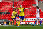 Doncaster Rovers Belles 1 Chelsea Ladies 4, 20/03/2016. Keepmoat Stadium, Womens FA Cup. Celebrations as Jess Sigsworth of Doncaster Rovers Belles scores the game's first goal. Photo by Paul Thompson.