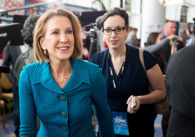 UNITED STATES - FEBRUARY 26: Carly Fiorina, former CEO of Hewlett-Packard, walks the hallway before her speech at CPAC in National Harbor, Md., on Feb. 26, 2015. (Photo By Bill Clark/CQ Roll Call)
