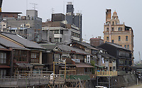 view on tea house district in Kyoto, Japan