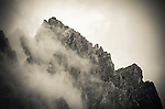 Clouds and rock ridges of the Palisades, Kings Canyon National Park, California USA