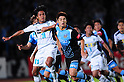 (R-L) Takuro Yajima (Frontale), Yusuke Tanaka (Avispa),..JULY 9, 2011 - Football :..2011 J.League Division 1 match between between Kawasaki Frontale 3-2 Avispa Fukuoka at Todoroki Stadium in Kanagawa, Japan. (Photo by AFLO)