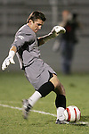 1 November 2006: Clemson goalkeeper Phil Marfuggi. Virginia defeated Clemson 2-0 at the Maryland Soccerplex in Germantown, Maryland in an Atlantic Coast Conference college soccer tournament quarterfinal game.