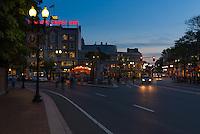 Cambridge Savings Bank at Harvard Square triangle at night, Boston