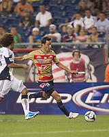 Monarcas Morelia forward Luis Gabriel Rey (18) passes the ball. Monarcas Morelia defeated the New England Revolution, 2-1, in the SuperLiga 2010 Final at Gillette Stadium on September 1, 2010.