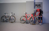 Team Trek-Segafredo winter training camp with Alberto Contador preparing his bike for the daily ride<br /> <br /> january 2017, Tenerife/Spain