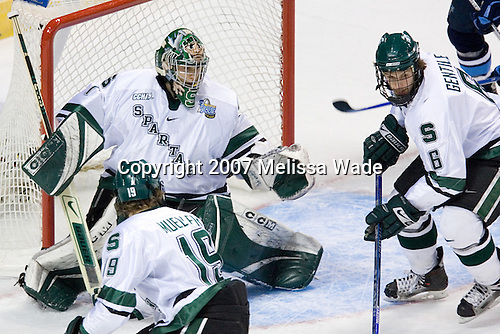 Chris Mueller (Michigan State - West Seneca, NY), Jeff Lerg (Michigan State - Livonia, MI), Brandon Gentile (Michigan State - Clarkston, MI) - The Michigan State Spartans defeated the University of Maine Black Bears 4-2 in their 2007 Frozen Four semi-final on Thursday, April 5, 2007, at the Scottrade Center in St. Louis, Missouri.