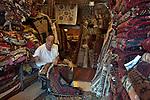 ISRAEL Tel Aviv<br /> A carpet vendor at flea market in Jaffa.