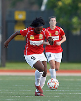 Second half substitute, Western New York forward Jodi-Ann Robinson (9) on the attack. In a Women's Premier Soccer League Elite (WPSL) match, the Boston Breakers defeated Western New York Flash, 3-2, at Dilboy Stadium on May 26, 2012.