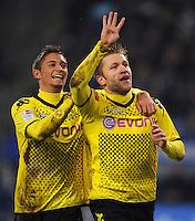 FUSSBALL   1. BUNDESLIGA   SAISON 2011/2012   18. SPIELTAG Hamburger SV - Borussia Dortmund     22.01.2012 Jubel nach dem 0:4: Torschuetze Jakub  KUBA Blaszczykowski (li) und Moritz Leitner (re, beide Dortmund)