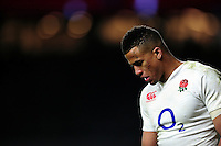 Anthony Watson of England looks on during a break in play. RBS Six Nations match between England and Ireland on February 27, 2016 at Twickenham Stadium in London, England. Photo by: Patrick Khachfe / Onside Images