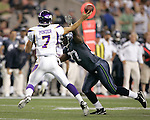Minnesota Vikings quarterback Christian Ponder passes under pressure by Seattle Seahawks cornerback Brandon Browner at CenturyLink Field in Seattle, Washington August 20, 2011. The Vikings beat the Seahawks  20-7. ©2011 Jim Bryant Photo. All Rights Reserved.