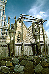 Hawaii: Big Island.  Heiau at Kailua Ahuena..Religious figures.  Photo# hikona101..Photo copyright Lee Foster, www.fostertravel.com, 510/549-2202, lee@fostertravel.com