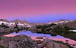 The cobalt blue from the Earth's shadow gives way to the pre-dawn pink of another cloudless day high in Dusy Basin, Kings Canyon National Park of California's Sierra Nevada range.